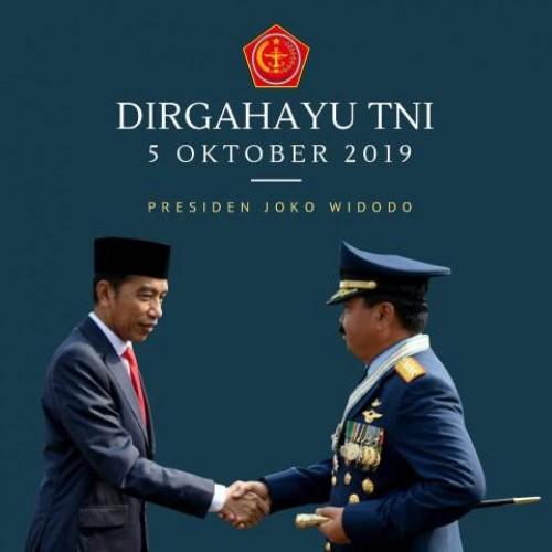 Ucapan Dirgahayu atau HUT ke-74 TNI dari Presiden Joko Widodo kepada Panglima TNI Marsekal TNI Hadi Tjahjanto. Twitter   @jokowi