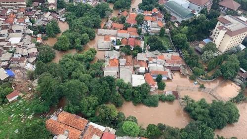 Pemandangan banjir Jakarta pada Rabu, 1 Januari 2020, dilihat dari udara. (Foto: Humas BNPB)