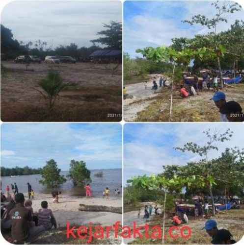 Suasana Pantai Sabang Ruk, Kecamatan Kelapa Kampit, Kabupaten Belitung Timur. Jum'at (01/01/2021). Foto:Marsidi